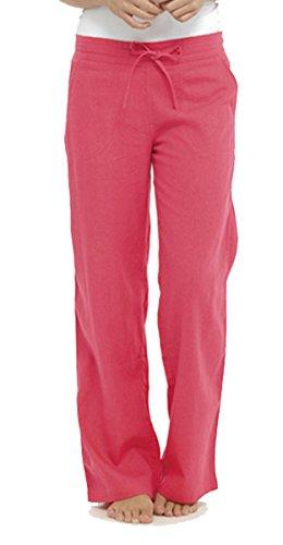 Tom Franks Damen Chino-Hose Schlafanzughose Rosa - Korallenrot
