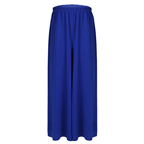 Inhzoy - pantaloni da danza per bambine, a gamba larga blue 8-10 anni