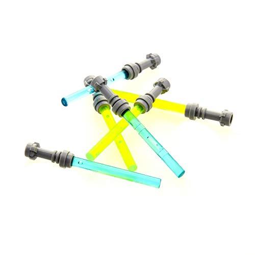 Bausteine gebraucht 6 x Lego System Lichtschwert Griff neu-hell grau Stab 4L neon grün transparent hell blau Laser Schwert Figuren Zubehör Waffe Star Wars 30374 578 21462 64567
