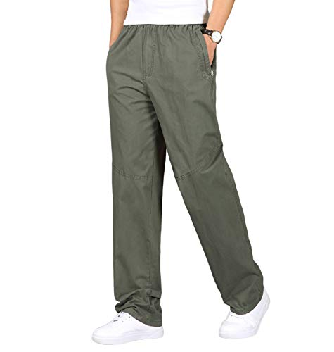 Gmardar Pantaloni Uomo Elegante con Tasche Laterali Zip Elastica Vita Cotone Dritti Larghi Fit Casual Regular Taglie Forti Exlarge Diversi Colori (ArmyGreen-Cerniera, 2XL)