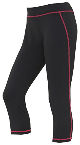 Women's Cooling Workout Capri Pants - Jet Black/ Hot Pink - XS