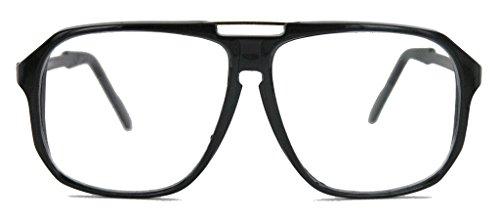 oversized Nerd Brille 70er 80er Jahre Streberbrille Retro Kassengestell Damen Herren WY (schwarz)