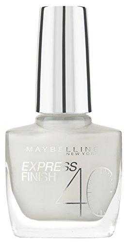 Maybelline Express Finish Nagellack, Nr. 60/15 white Dream, trocknet in nur 40 Sekunden, Schock-Control-Film schützt die Farbe vor Absplittern, in deckendem schnee-weiß, 10 ml -