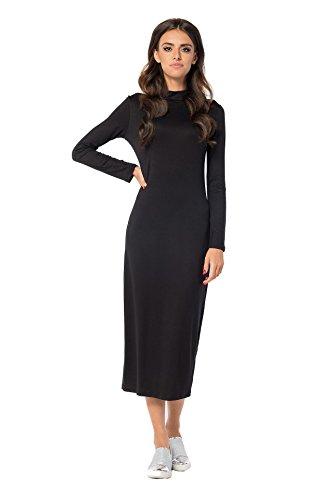 Kleid Langarm Top mit Stehkragen Gr. S M L XL 2XL 3XL, B33 Schwarz