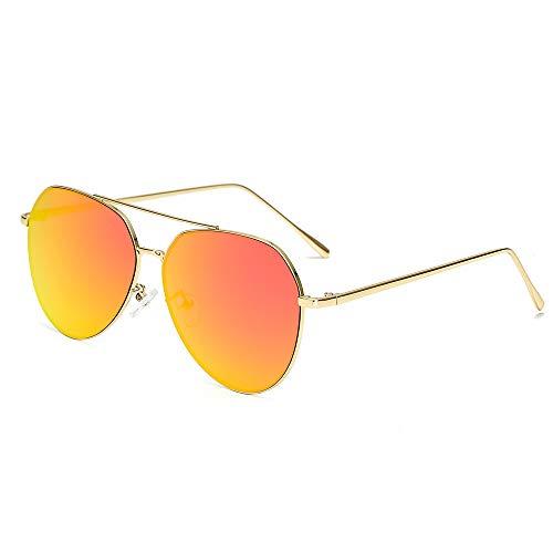 MJDABAOFA Sonnenbrillen,Übergroße Pilot Ovale Sonnenbrille Frauen Männer Gold Frame Rote Linse Sonnenbrille Aviator Metallrahmen Mirror Fahren Frau Gläser