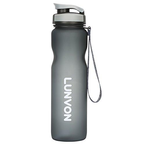 Lunvon Bottiglia per L'acqua, Bottiglia d'Acqua Sportiva - 1000ML Bottiglia Acqua / 35oz Borraccia 1 Litro Palestra, A Prova di Perdite, Senza BPA Tritan Plastica Detox Bottiglie Acqua, Grigio