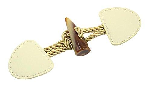 Black Temptation Leder Toggle Buttons für Mantel Set von 2 Cremefarben -