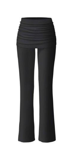 Bamboo Leggins (CURARE Damen Yogahose Pants Long with Skirt, black, S, #84)