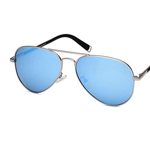Einfache Brille Ovale kleine Metall polarisierte Sonnenbrille verspiegelte Linse Unisex-Brille (Farbe : Blau, Größe : Casual Size)