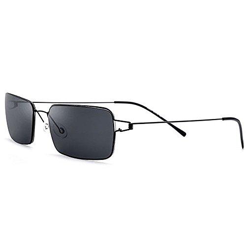 Yiph-Sunglass Sonnenbrillen Mode Herren TR90 Sonnenbrille Handmade Frameless UV-Schutz für das Fahren Baseball Laufen Radfahren Angeln Golf (Farbe : Schwarz)