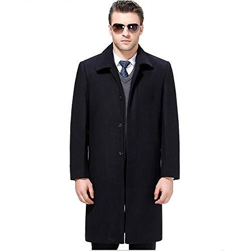 Herren Winter Warm Schwarz Wolle Kaschmirmantel Einreiher Lang Business Casual Trenchcoats Jacke PEA Coat Parka Oberbekleidung,Navy-XXXL Navy Pea Coat