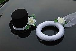 Autoschmuck Hochzeit, Ecru, 25x34x15 Schleier 25