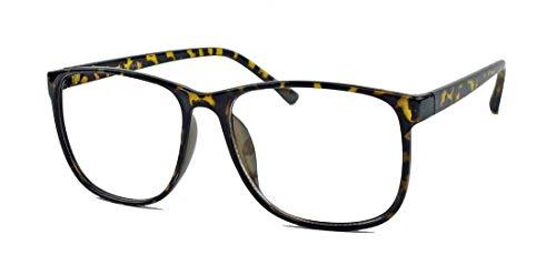 Damen & Herren Streberbrille: Trend Fashion Brille rechteckig Square Frame Nerd Style N35 (Hornbrille)