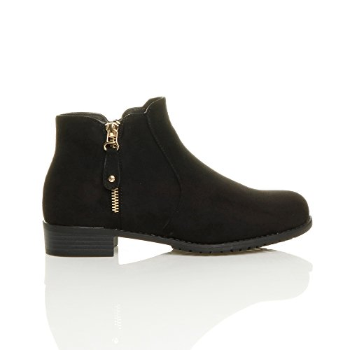 Femmes talon bas zip d'or chelsea bottes d'équitation bottines pointure Daim noir