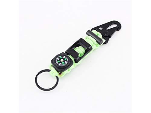 Plsonk Explorer Compass, Alliage de Zinc Multifonctions Outils Porte-clés Porte-clés Pinces Porte-clés pour Les Sports de Plein air (Vert Fluorescent) Outil de Navigation