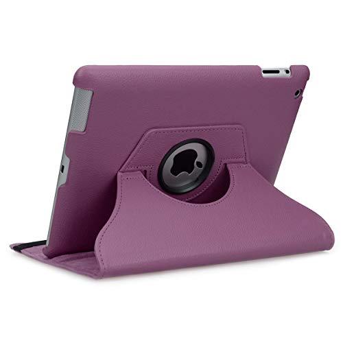 doupi Deluxe Protección Funda para iPad 2 3 4, Smart Sleep/Wake Up función 360 Grados giratoria del Caso del Soporte Bolsa, Morado