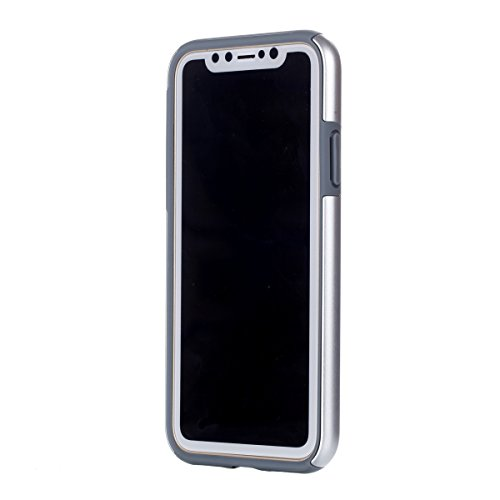 CaseforYou Hülle iphone X Schutz Gehäuse Hülse Premium Shatterproof Anti-Scratch Protective Shell Anti Drop Back Case Schutzhülle für iphone X Handy (Golden) Silver