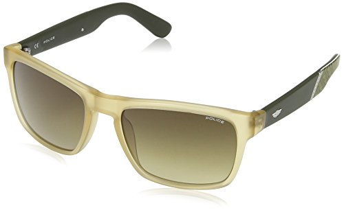 Police - occhiali da sole s1858 crypto 2 wayfarer, uomo, semi matt transparent beige & dark grey frame/brown gradient lens