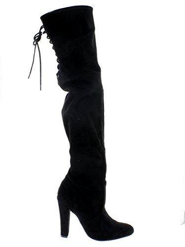 Stivale Gleemer in camoscio nero tacco 10 cm N. 36,5