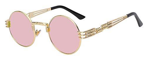 Macxy - Gothic Steampunk Sonnenbrille Männer Frauen Metall WrapEyeglasses Round Shades Sonnenbrillen Spiegel [Gold W Pink]