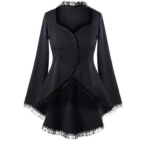 Riou Damen Blazer Jacke Herbst Winter Langarm Steampunk Gothic Vintage Buttons Asymmetric Slim Fit Anzug Trenchcoat
