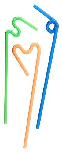 Fackelmann Knicktrinkhalme KREATIV, bunte Strohhalme aus Kunststoff, Trinkröhrchen mit extra langem knickbarem Hals (Farbe: Orange, Grün, Blau), Menge: 70 Stück
