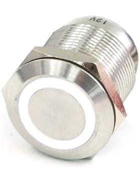 Phobya Vandalismus / Klingeltaster 16mm Edelstahl, weiß Ring beleuchtet 5pin
