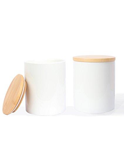 Fecihor Vorratsdose Keramische Küche Kanister Set mit luftdichtem Seal Bamboo Deckel, Einfacher Stil Essen Jar Container 27 FL OZ (800 ML) für Pasta, Kaffeebohnen, Zucker, Tee und Gewürze (2 Packungen mit 1 Sticker)