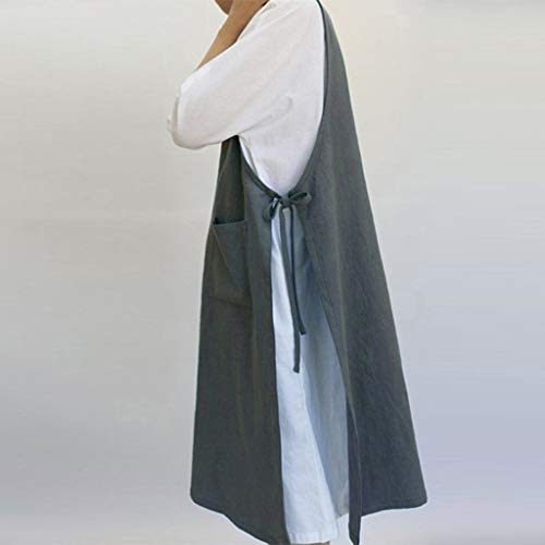 TEELONG Kleider Damen Baumwoll-Tunika-Kleid Lässige Schürze mit Taschen Pinafore-Kleid im japanischen Stil Blusenkleid Faltenkleid Ballkleid Partykleid - Machen Sie Ein Kind Im Superhelden Kostüm