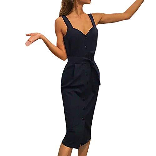 Jersey Ärmellos Cap (QUINTRA Kleid Frauen Urlaubspartykleid Mit Gürtel Feste Freizeit Ärmelloses Kleid mit V-Ausschnitt)