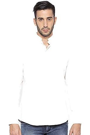 Nick&Jess Camisa de manga corta para hombre, color crema (blanco), cuello Mao Marfil blanco crema S(Pecho:51/52, Shoulder:49/50): Amazon.es: Ropa y accesorios