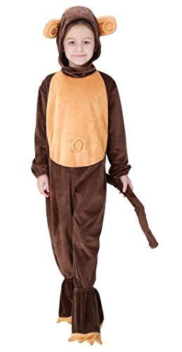 halloween kostueme kinderparty AIVTALK Kinder Tierkostüm AFFE Kinderkostüm Tier Kapuzenanzug für Halloween Fasching Kinderparty Karneval, Nachtwäsche Größe M für Körpergrößer 115-125cm - AFFE Braun