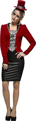 Smiffy's 44539S - Fever Vampirin Kostüm mit durchgehendem Reißverschluss Rock Jacke Mock Korsett und (Ideen Vampirin Kostüm)
