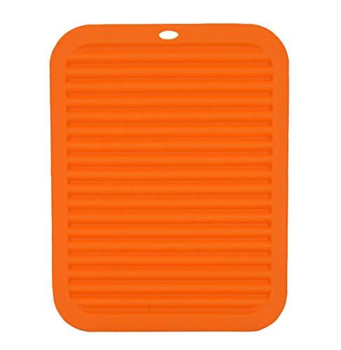 DELEY Silicone Manique Dessous de plat Table de Cuisine Tapis Résistant Chaleur Antidérapante Sous-Verres Coasters Orange
