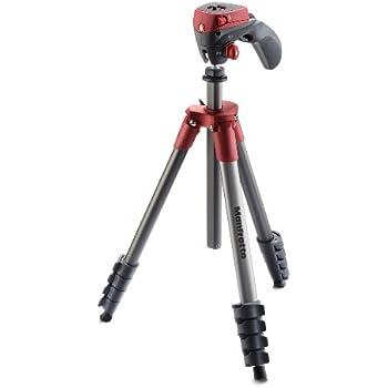Manfrotto MKCOMPACTACN-RD Treppiede con Borsa, Testa Ibrida per Fotografia e Video, 5 Sezioni in Alluminio, Rosso