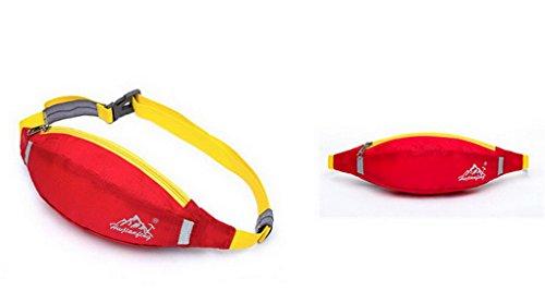Unisex multifunzione in Nylon impermeabile Bum Marsupio Packs denaro Hip Pouch con cintura regolabile per Outdoor Sport, palestra, corsa, trekking, campeggio, pesca Bike Beautiful red