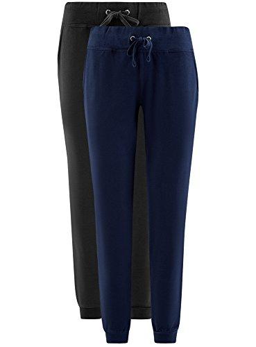 oodji Ultra Femme Pantalon en Maille (Lot de 2) Multicolore (19K4N)