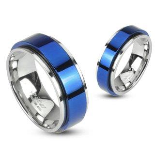 316L Edelstahl Ring – Zweifarbig, doppellagig und mittig blau, Spinner Ring 6 mm breit (Größe frei wählbar)