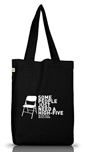 Shirtstreet24, High Five, Jutebeutel Stoff Tasche Earth Positive (ONE SIZE) Black