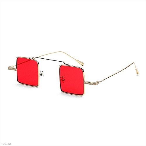 Yiph-Sunglass Sonnenbrillen Mode Kleine quadratische Sonnenbrille für Damen Herren Unisex-Sonnenbrille mit Metallrahmen (Farbe : Rot)