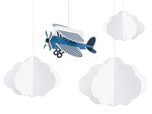 g Mottoparty I 4 Teile All In One Set Flugzeug Wolken Pompons Blau Junge Geburtstag Deko Party Happy Birthday ()