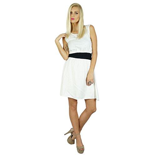 Bimba femmes Blanc Rayon smocks la taille robe longueur au genou Robe patineuse Blanc