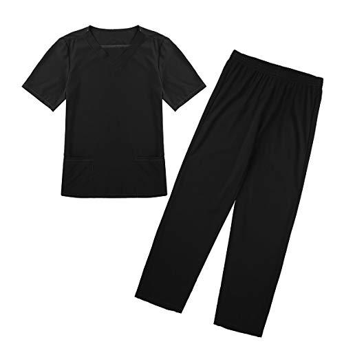 iEFiEL Unisex Damen Herren Medizinische Uniform Sets V-Ausschnitt Schlupfjacke + Schlupfhose OP Hose Kostüm Verkleidung, 6 Farben Schwarz S (Halloween Medizinische Peelings)