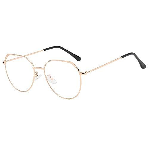 Dorical Mehrfarbig Brille Für Herren und Damen/Metallgestell Brillenfassung Aviator Vintage Brille Dekobrillen/Mode Unregelmäßig klar Linse Brille Jahrgang Geek Nerd Retro Stil Metal Frame Sale