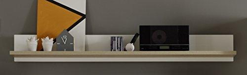 trendteam AR Wohnwand Wohnkombination Anbauwand | Weiß | Eiche Sägerau Hell | 425 x 199 cm | Inkl. LED Beleuchtung - 8