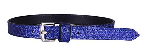 Arbo-Inox® - Sporenriemen aus Leder - in Glitzeroptik - mit Edelstahlschnalle (Blau)