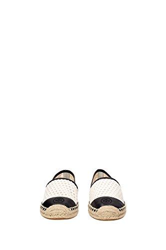 11168701WHITEBLACK Tory Burch Espadrilles Femme Tissu Blanc Blanc