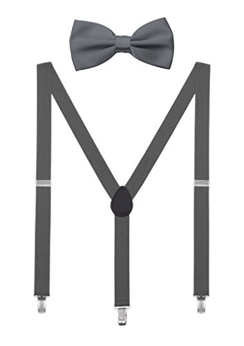 DEBAIJIA Unisex Hosenträger mit Fliege Set für Damen Herren Jugendliche Schick Design 3 Clips Elastisch Gürtel Längeverstellbar 155-180 Körperhöhe - Dunkelgrau