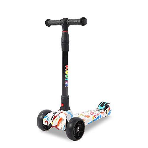 Oaimieg Kinderroller, Dreiradscooter für Junge Mädchen 2 zu 14 Jahre alt mit Faltbar und Einstellbare Höhe Griff mit PU LED Leuchtenden Räder,002