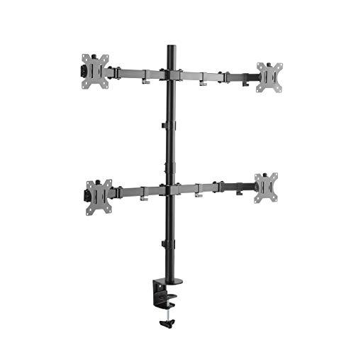 RICOO Universal Monitor Multimonitor Stand TS2811 Halterung 4 Bildschirme Schwenkbar Neigbar Tischhalterung LCD LED TFT 4K Curved Bildschirmhalterung VESA 75x75 100x100 33-69cm / 13